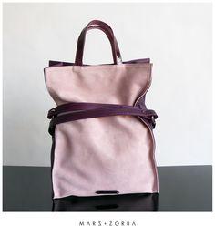 Apollonia Plum Tote #leather #handbags #plum #pink #softpink #tote #carteras #cuero #gamuza