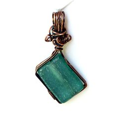 Teal Diamond Recycled Glass Pendant