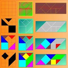 Puzzelen met ronde en vierkante tangrams - Pythagoras