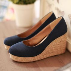 Fitted Vintage Navy Blue Espadrilles Wedges for Women
