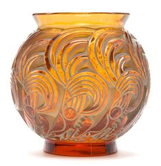 R. LALIQUE DEEP AMBER GLASS BRESSE VASE WITH WHITE PATINA  Circa 1931  Stenciled: R. LALIQUE, FRANCE