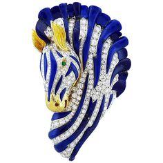 https://www.etsy.com/listing/288957573/18k-yellow-gold-genuine-blue-sapphire Van Cleef & Arpels Lapiz Lazuli Emerald and Diamond Brooch