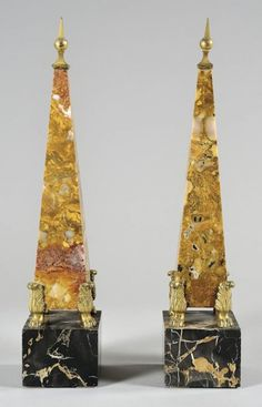 Pair of colored marble obelisks ; with gilded bronze feet & tip decoration, Rome XVIIIth Century (h.cm.48)