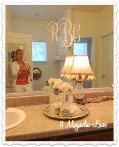 bathroom monogram CUTE.  Love this on that BIG mirror in the bath