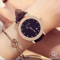 22.95$  Buy now - http://aliyct.shopchina.info/1/go.php?t=32812725260 - GUOU Brand Wrist watch Luxury Diamond Watch Women Watches Women's Watches Auto Date Leather Clock Women saat relogio feminino  #SHOPPING