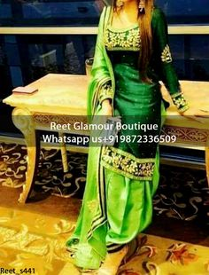 Captivating Green Hand Embroidered Punjabi Suit Product Code : Em_441To Order, Call/Whats app On +919872336509 We Offer Huge Variety Of Punjabi Suits, Anarkali Suits, Lehenga Choli, Bridal Suits,Sari, Gowns Etc .We Can Also Design Any Suit Of Your Own Design And Any Color Combination.