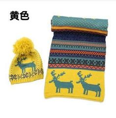 Hot Sale Autumn Winter 2pc/set Women Knitted Hat Scarf Bohemian Deer Print Double-sided Wool Scarves With Cap Chrismas Gifts