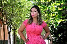 pink dress/ pink lips