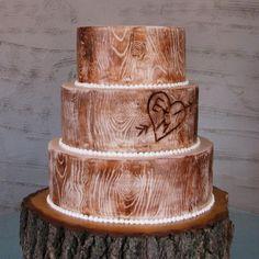 Rustic Wedding Cakes | rustic wedding cake initials hand painted cake aminamichele.com amina ...