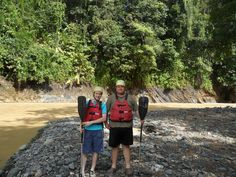 Vincent and Randall ready for whitewater rafting on the Rio Savegre.