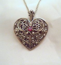 Filigree Heart Necklace Sterling Silver Red Ruby by Zeppola