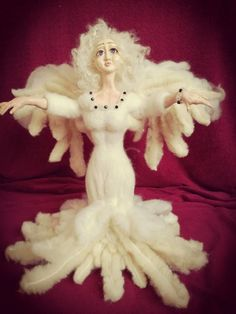 ooak doll angel Agnes from polymer clay and needle felt