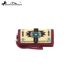 Montana West Western Aztec Collection Mariposa Concho Wristlet Wallet