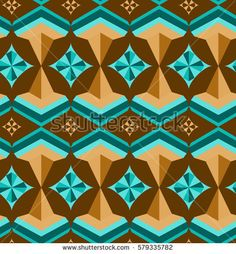 Seamless arabic geometric 3d abstract turquoise brawn pattern.Vector background.