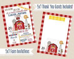 BARNYARD BASH Birthday Invitation | 5x7 | FARM Printable Personalized Invite | You Print | Old MacDonald had a Farm Party