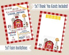 BARNYARD BASH Birthday Invitation | 5x7 | FARM Printable Personalized Invite | You Print | Old MacDonald had a Farm Party