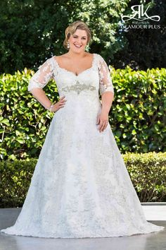 Stunning plus size wedding dress with lace and bling