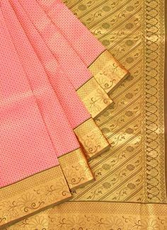 Pink N Golden Pure Silk Pothys Saree