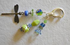 Green and Blue Beaded Decorative Clip with by SoLunaShines on Etsy