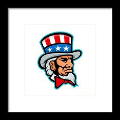 Mascot Framed Print featuring the digital art Uncle Sam Mascot by Aloysius Patrimonio Hanging Wire, Retro Fashion, Fine Art America, Stencils, Disney Characters, Fictional Characters, Digital Art, Framed Prints, Nails