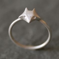 """Small fox ring in sterling silver. The fox is approx. 3/8"""" wide. Also offered with diamond eyes as well as in 14k gold in separate listings. Please specify ring size at the time of order."""