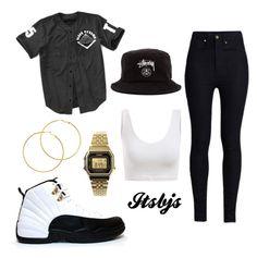 """""""Stussy/jersey/Jordan12/black"""" by itsbjs on Polyvore"""