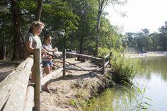 Vissen in de natuurvijver op het campingterrein.