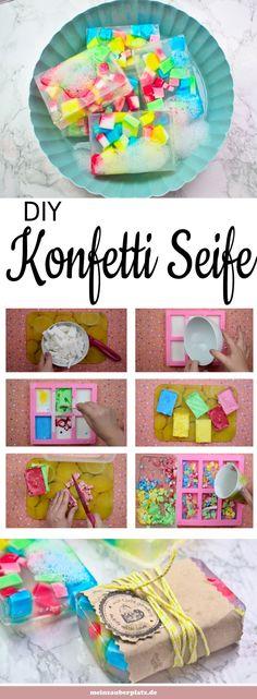 Seife selber machen ist einfach und ein tolles Geschenk. Konfetti Seife mit Kind ...  #einfach #einfacheWeihnachtsgeschenke #geschenk #konfetti #machen #seife #selber #tolles