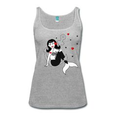 Tank, tshirt, Mermaid, Pin up, Pin-up, nautical, rockabilly, vintage, tattoo, glam, t-shirt www.wickedts.spreadshirt.com