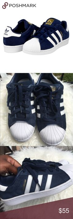 Adidas | Suede Superstar Originals Adidas  | Suede superstar originals  Navy blue x White  Actual Tag is 4.5Y (UK4) 4.5Y = 5.5 women's (see size chart) Some scuffing (see photo) No Trades ❌ Smoke Free Home  15% off of 4 or more bundled items! adidas Shoes Sneakers