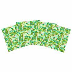 "Amy Reber ""Maze"" Green Vector Indoor/Outdoor Place Mat (Set of 4)"
