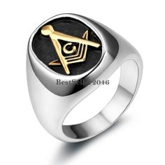 Silver Stainless Steel Gold Tone Masonic Black Oval Mason Mens Ladies Ring #Unbranded #Masonic