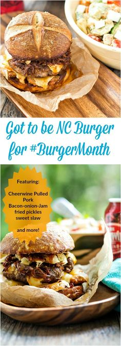 Talk about Epic Burgers just in time for Memorial Day! My Got to Be NC Burger features tons of made in NC products and ingredients. Sweet, spicy, tangy, juicy, cheesy, delicious, all on a homemade pretzel bun! It's worth pinning for the Cheerwine Barbecue