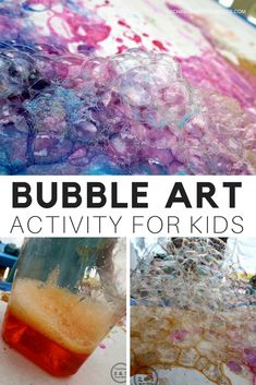 Create bubble art using straws and vibrant colors! This process art activity gets kids giggling as they blow colored bubbles into big mounds and watch them pop on the paper. The results are stunning! #art #kidsactivities #kbn #bubbles #processart #screenfree #AGE2 #AGE3 #AGE4 #preschool #teaching2and3yearolds #paint