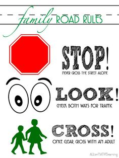 Sign to print to help toddlers and preschoolers understand the rules of the road.