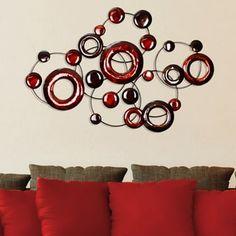 Stratton Home Decor Red Metallic Circles Wall Decor