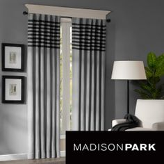 Madison Park Canyon Grey / Black Window Panel Pair | Overstock.com Shopping - Great Deals on Madison Park Curtains