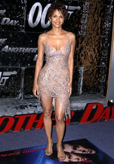Halle Berry in an embellished dress at the premiere of 'Die Another Day'