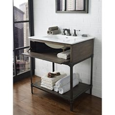 Create Photo Gallery For Website Option for Guest House Vanity Fairmont Designs Toledo Open Shelf Vanity with Integrated Sink Option Driftwood Gray