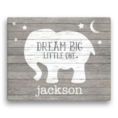 Make one special photo charms for you, 100% compatible with your Pandora bracelets.  Dream Big Little One Personalized Elephant Canvas, personalized baby gifts, unique