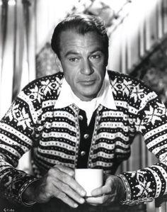 Gary Cooper w/ coffee and intense sweater #celebrities #coffee #sweater