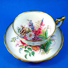 Handpainted & Signed Floral Bouquet Royal Chelsea Tea Cup and Saucer Set | Antiques, Decorative Arts, Ceramics & Porcelain | eBay!