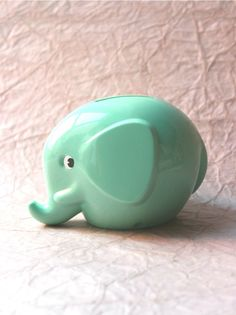 Elephant Money Bank Mint Green