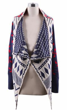 Navy Draped Collar Geo Tribal Pattern Open Cardigan pictures