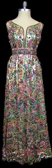 Metallic embroidered, sequined, and beaded evening gown, c. 1964 vintage fashion style long dress formal fancy party event mid 60s pink blue gold