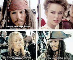 Jack Sparrow and Elizabeth Swann<<< *clears throat obnoxiously* there should be a captain in there...