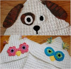 Owl and Dog Hooded Baby Towels Package - via @Craftsy