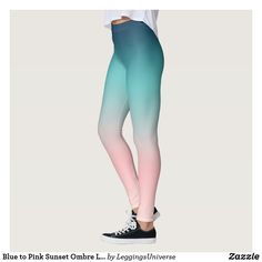 Blue to Pink Sunset Ombre Leggings Gothic Leggings, Ombre Leggings, Pink Sunset, Leggings Fashion, Dressmaking, Pants, Blue, Shopping, Sew Dress