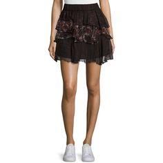 Iro Loey Tiered Printed Voile Skirt ($368) ❤ liked on Polyvore featuring skirts, mini skirts, women's apparel skirts, flounce hem skirt, elastic waist a line skirt, tiered skirt, tiered mini skirt and short mini skirts