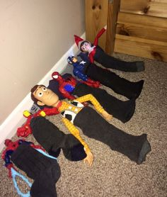 Elf on the shelf sleepover in sons socks :) Christmas fun